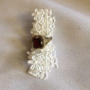 Garnet ring in gold setting
